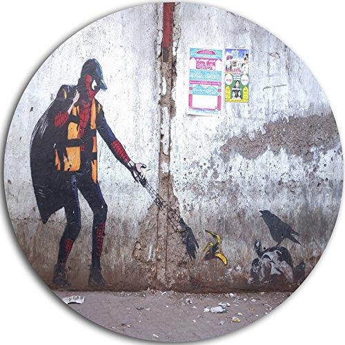 "Designart ""Spiderman in Dharavi Slum Street Art Large"" Metal Wall Art, 23 x 23"", Gray"