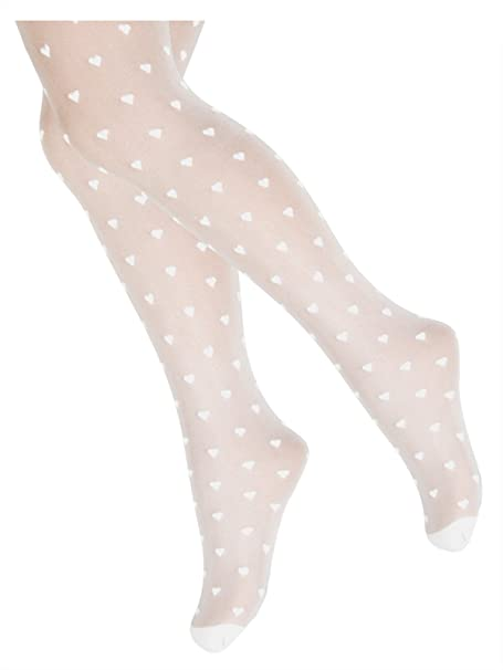 9eb17e29b4573 TLLC Girls White Tights 20 Denier Sheer Multi Hearts Pattern For Special  Occasions: Amazon.co.uk: Clothing