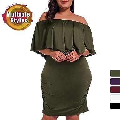 8c63de76d29 NUONITA Women s Off Shoulder Plus Size Dresses Ruffles Bodycon Mini Dress  (Army Green