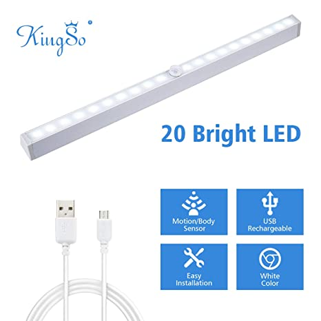 KINGSO Lámpara de Armario USB Recargable 20 LEDs Detector de Movimiento Lámpara Inalámbrica Automática con Cinta