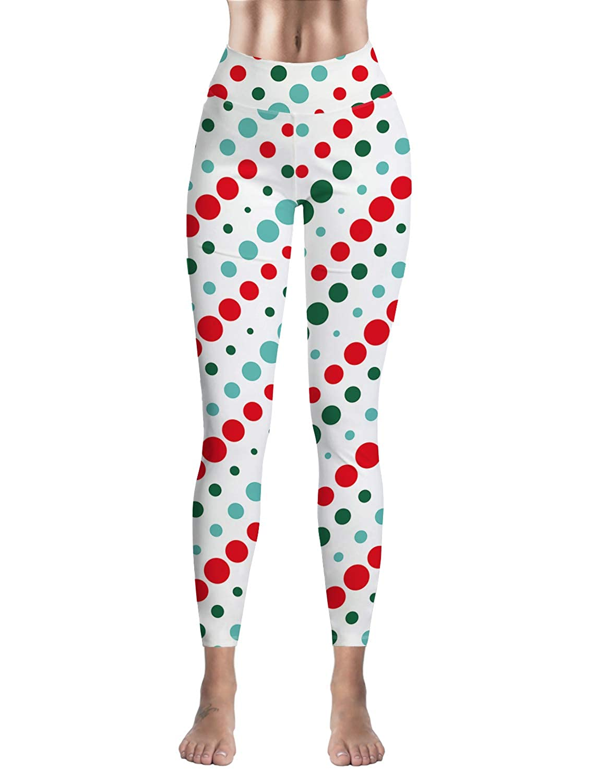 Womens Printed Leggings Christmas Tree White Bear Gifts Candy Cane High Waist Tummy Control Yoga Pants Ankle Length