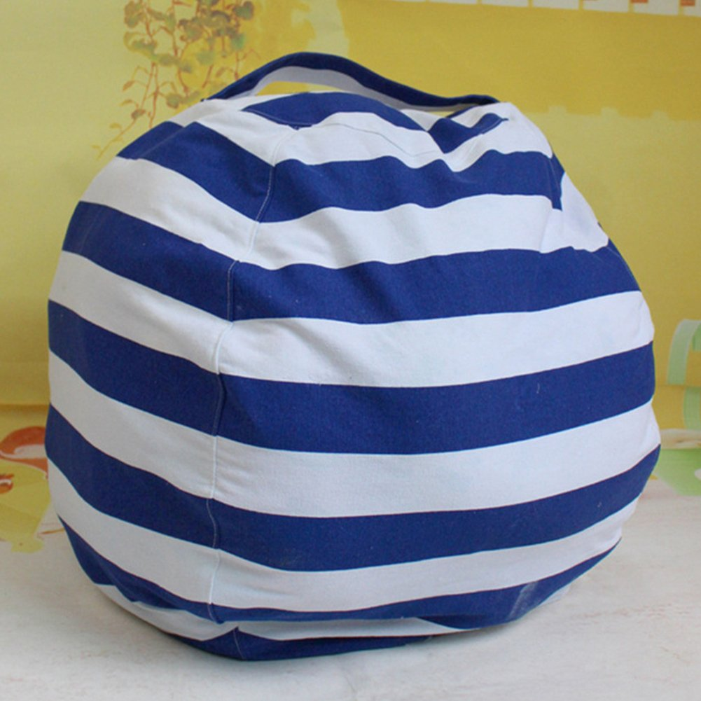 Large Toy Storage Bag, Extra-Large Canvas Stuffed Animal Storage Bean Bag Cover Bag Chair Kids Plush Toy Organizer, Clean up The Room Perfect Storage Solution(Royal Blue) by GEZICHTA (Image #3)