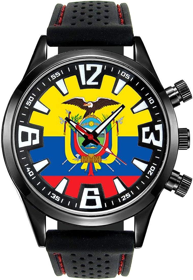 Timest - Bandera de Ecuador - Reloj para Hombre con Correa de Silicona Negro Analógico Cuarzo SF066