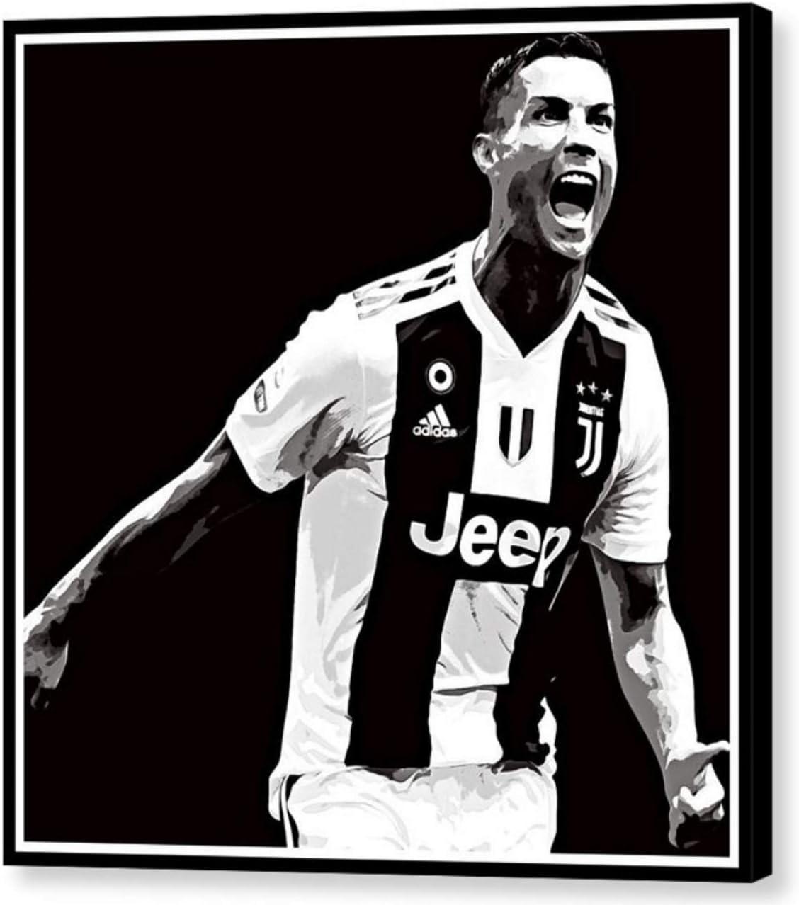 MAUSI CREATIONS – Ronaldo CR7 Juventus Cristiano Ronaldo Quadro – Impresión sobre Lienzo, Stretched Canvas Print, Druck Auf KEILLENWAND, impresión sobre Lienzo – Reproducción de Pintura: Amazon.es: Hogar