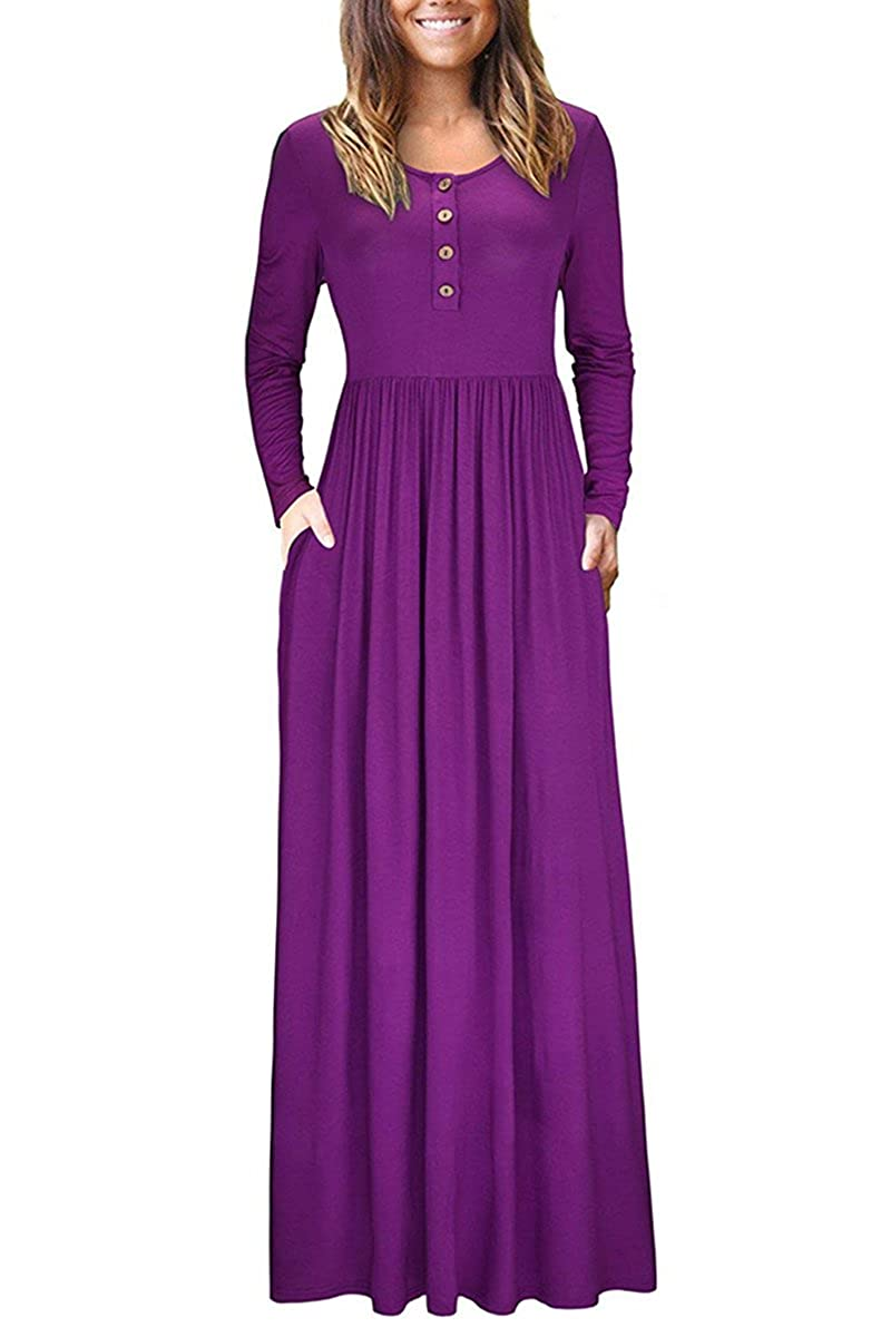 ae1b6b3ee3 irene inevent Women s Short Long Sleeve Maxi Dress with Pockets Plain Loose  Swing Casual Floor Length Long Dresses at Amazon Women s Clothing store