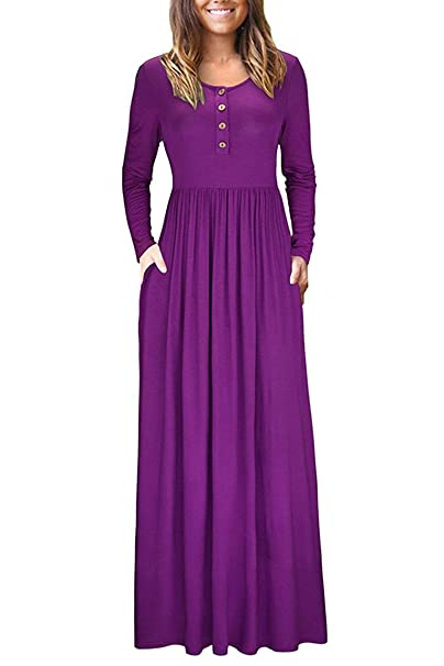 2b3dad498f0ff1 irene inevent Women's Short&Long Sleeve Maxi Dress with Pockets Plain Loose  Swing Casual Floor Length Long Dresses at Amazon Women's Clothing store: