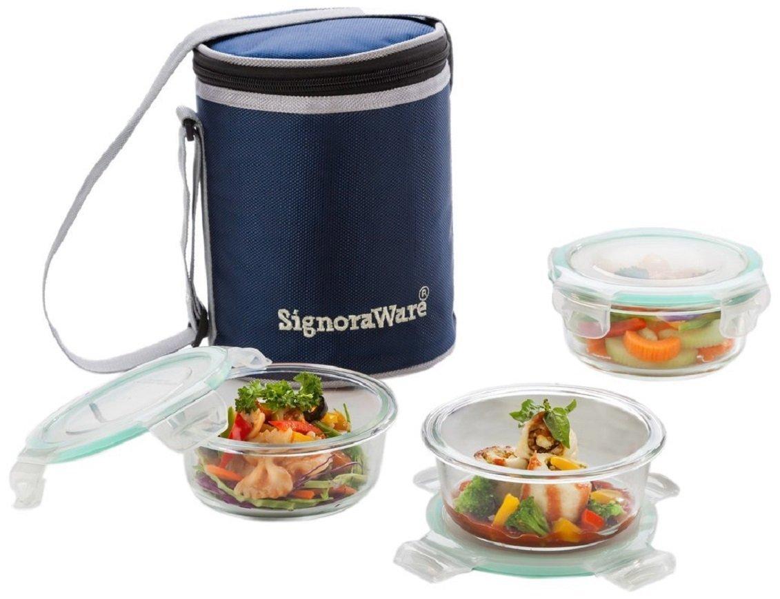 3/pi/èces signoraware Executive Lunch Box en verre avec /étui transparent 390/ml//16/cm