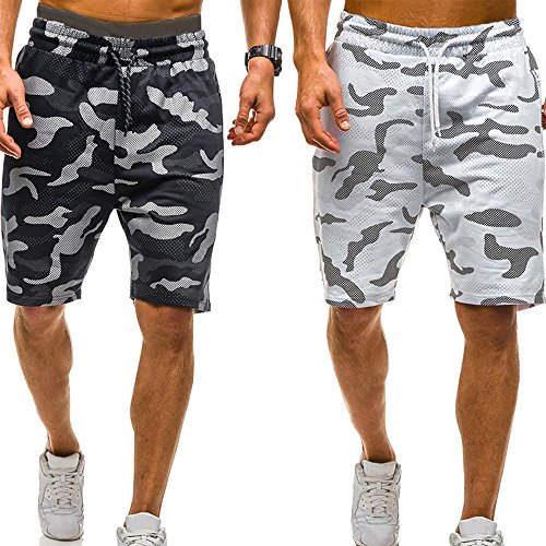 vermers Mens Summer Casual Cargo Shorts 2018 Camouflage Short Pants(M, Black) by vermers (Image #8)