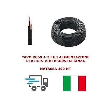 Bobina Cable video coaxial RG59 + 2 hilos Transmisión 100 Mt 0.58 ...