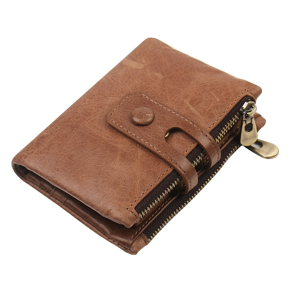 Men RFID Blocking Wallet Small Vintage Cowhide Leather Short Purse Bifold with Double Zipper Pockets (Brown-1)