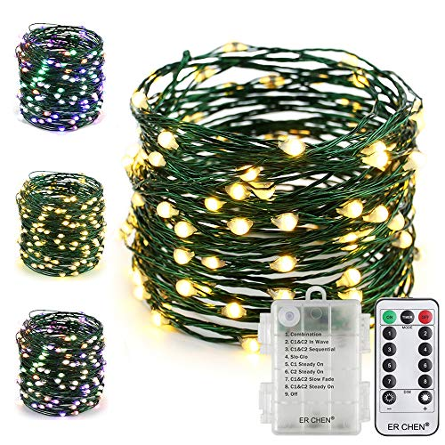 (ER CHEN Fairy Lights with Remote, Battery Operated Green Copper Wire 33Ft 100 LED String Lights Color Changing 8 Modes Christmas Lights with Timer for Bedroom, Patio, Garden (Warm White/Multicolor))