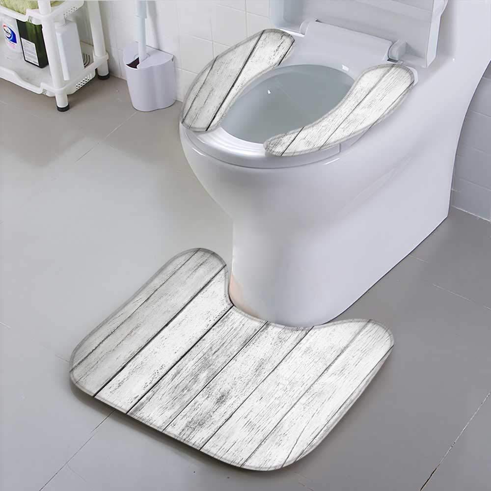 Toilet seat Cushion White Plank Wood Texture Background Machine-Washable