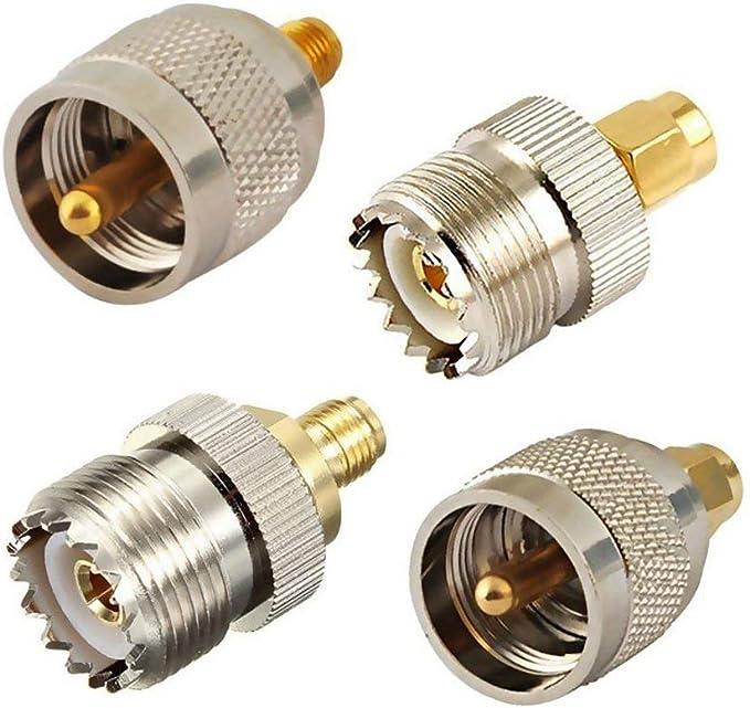 Kit de 4 Conectores coaxiales SMA a UHF PL259 SO239, Conector de Antena WiFi para Prueba de Radio, walkie Talkie Amateurs Baofeng Uv-5R Wouxun Kenwood ...
