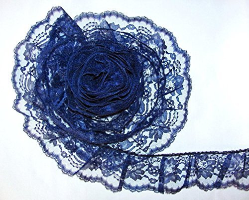 3 Inch Wide Crafts Ribbon Ruffled Floral Lace Trim Lace Ribbon for Decorating Craft Wedding Home Decor Navy Blue By 5 Yards (Blue Ruffled Lace)