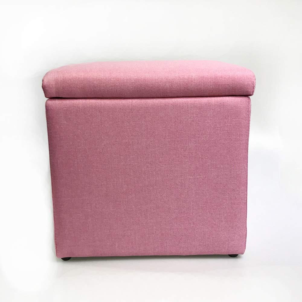 Rose 33cm33cm Tabouret de stockage de grande capacité, Tabouret de rangeHommest en coton et coton multi-fonction. Boîte de rangeHommest pour coffre simple et créative pouvant s'asseoir.