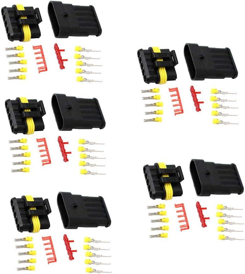 Mintice 5 X 1 Broche Voiture de fa/çon Automatique /étanche imperm/éable connecteur /électrique kit de Prise de Courant avec du Fil AWG de Calibre Marin