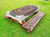 Lunarable Mandala Outdoor Tablecloth, Traditional Ethnic Circle Meditation Folk Spiritual Culture Print, Decorative Washable Picnic Table Cloth, 58 X 120 inches, Turquoise Teal Orange White