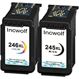 INCWOLF Remanufactured ink cartridges Replacement for PG-245XL PG-243 / CL-246XL CL-244 to use with Canon MX490 MX492 G2420 M