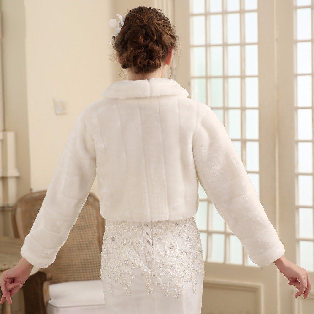 Unbekannt Brautjacke Bolero Fell Wei/ß Ivory Pelz Hochzeit Wedding Bridal Kunstpelz