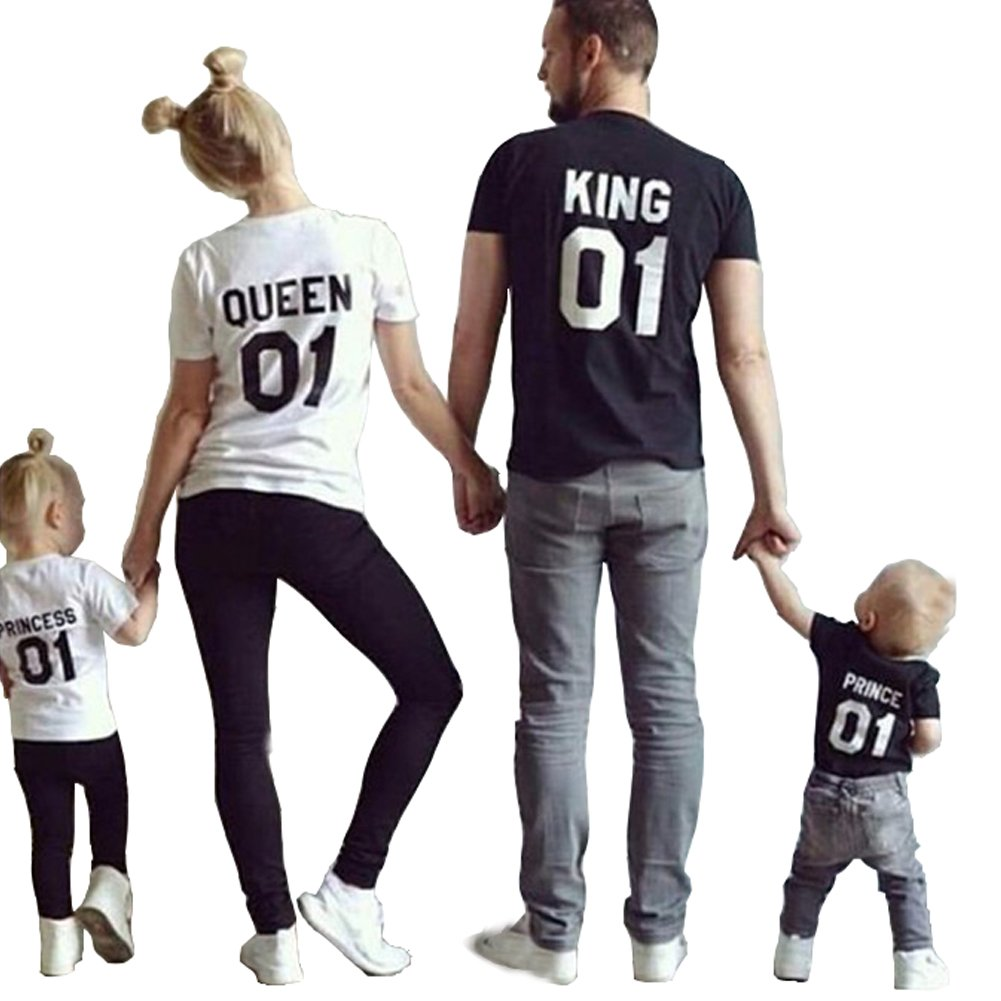 cb22ed555 Features: short sleeve/ o-neck/ letter print/ King&Queen Prince&Princess/  casual/ Stretch/ Soft&Comfortable