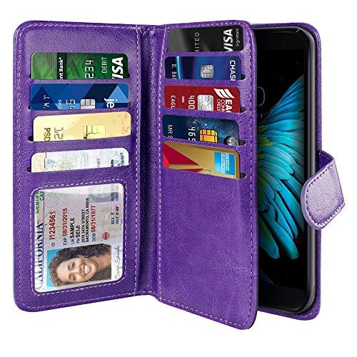 NEXTKIN Case Compatible with LG K10 Premier LTE, Leather Dual Wallet Folio TPU Cover, 2 Large Pockets Double flap, Multi Card Slots Snap Button Strap For LG K10 Premier - Purple