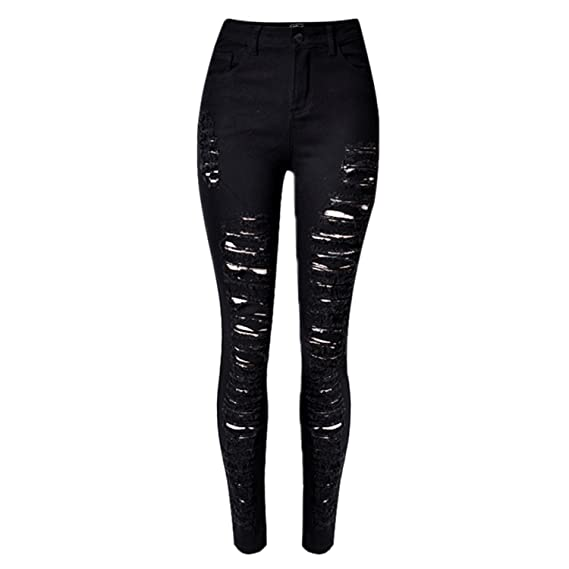 LAEMILIA Frauen Jeans Zerrissen Ripped Leggings hohe Taille Stretch Destoryed Skinny Bleistifthose Hose