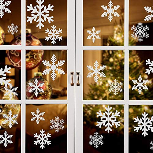 81pcs Multi-Size Glitter Snowflake Window Clings PVC Window Stickers for Christmas Decorations Holiday Windows Ornaments Xmas Party Decorations Winter Wonderland Frozen Party -