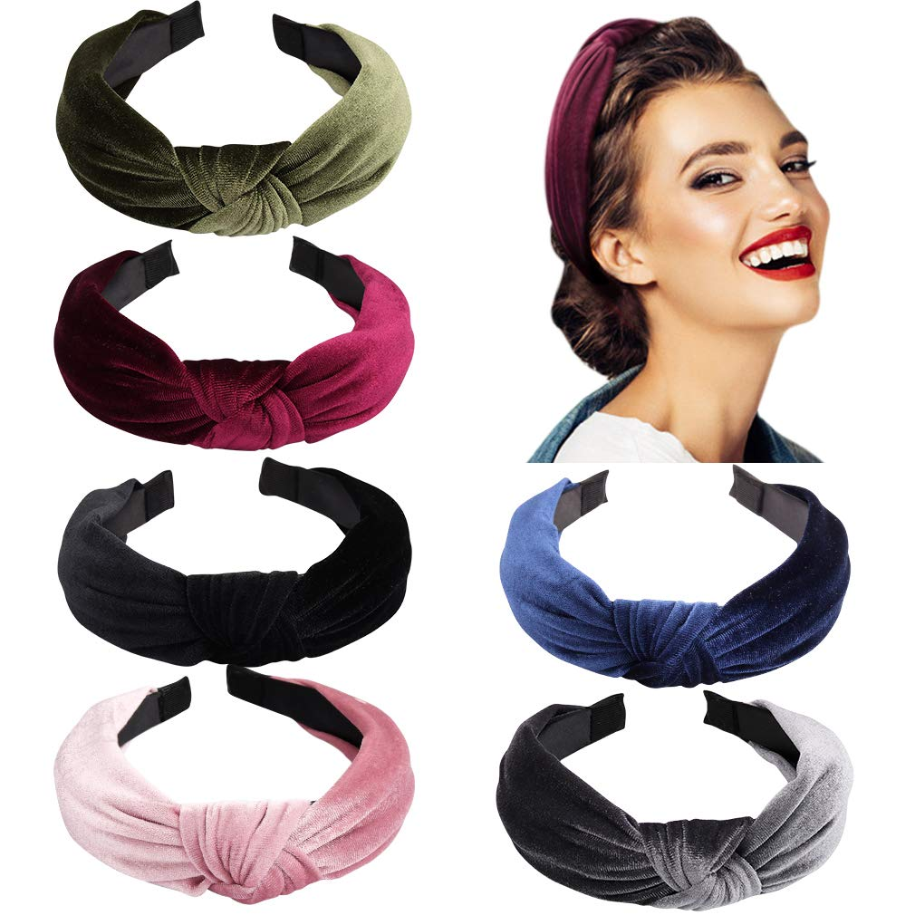 Women Vintage Velvet Twist Headband Cross Knot Elastic Hair Band Turban LH