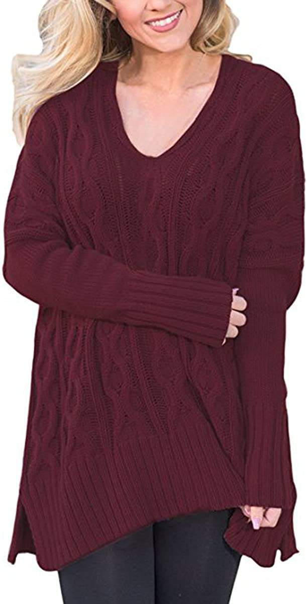 Wine Red, M Ksenia Women Casual V Neck Oversized Knitted Baggy Loose Fit Knit Sweater Pullover Top