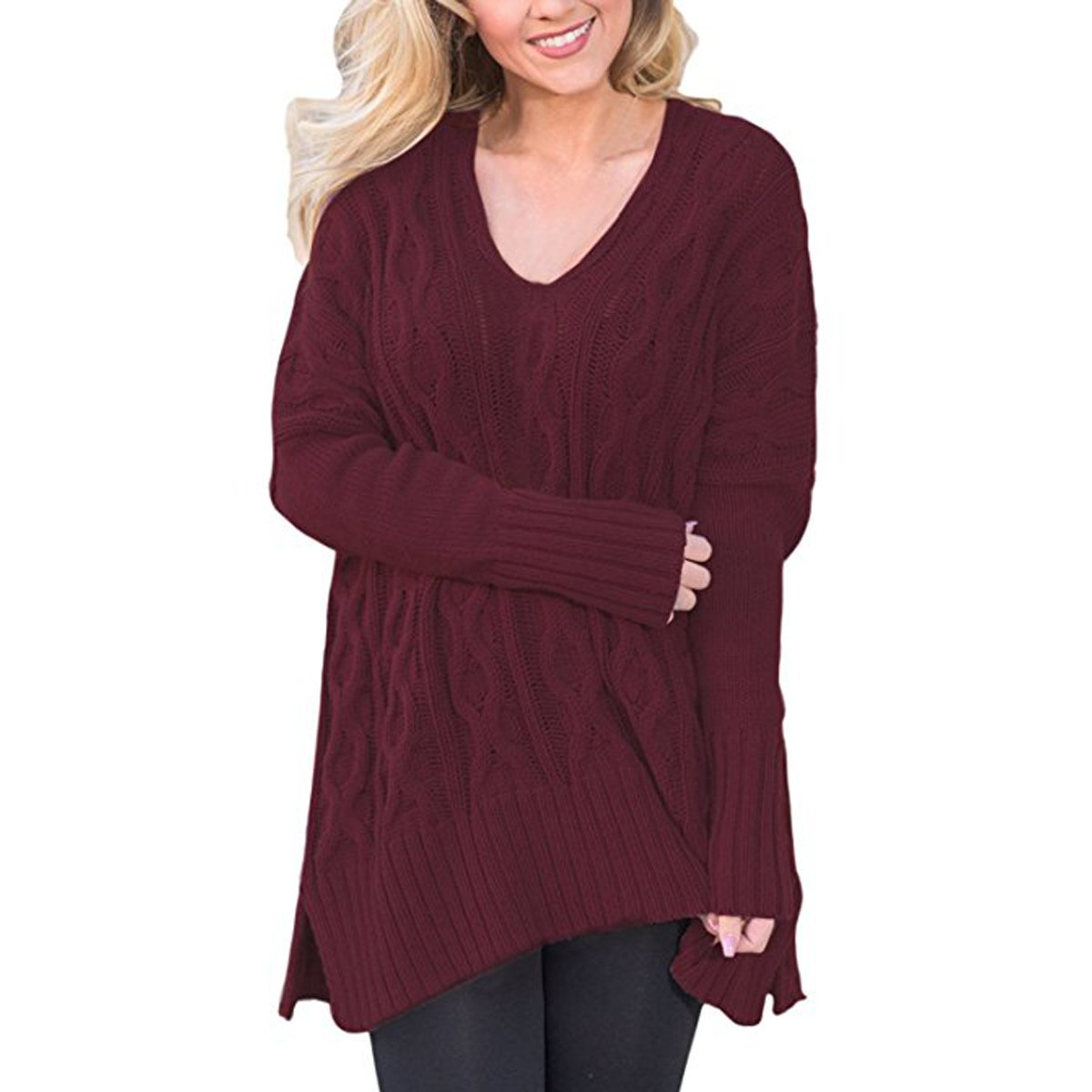 Ksenia Women Casual V Neck Oversized Knitted Baggy Loose Fit Knit Sweater Pullover Top (Wine Red, XXL)