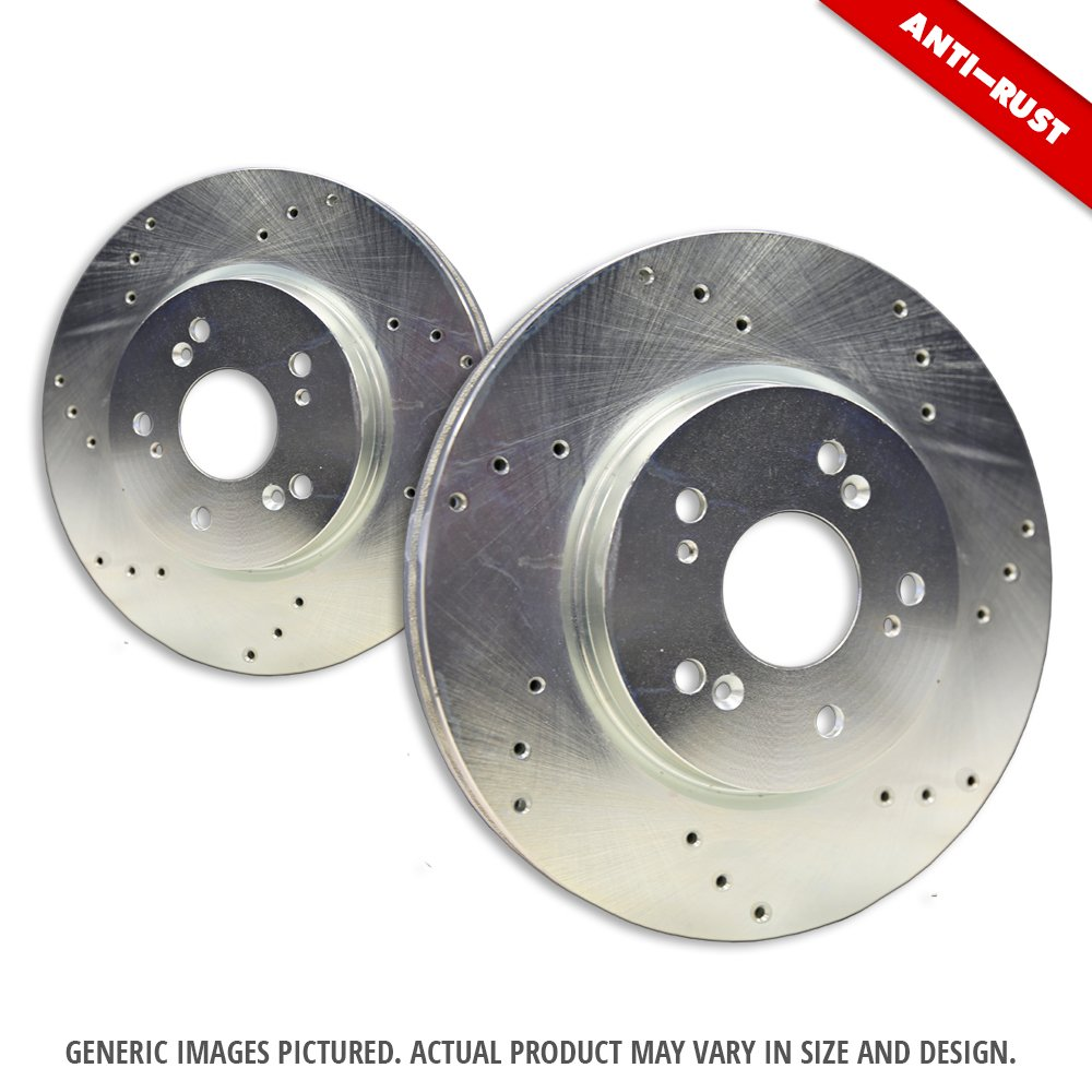6lug 2 Premium Zinc Plated Cross Drill Disc Brake Rotors Front Rotors Montero