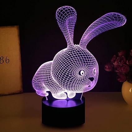 Luz de noche 3D con control remoto Lámpara de forma de