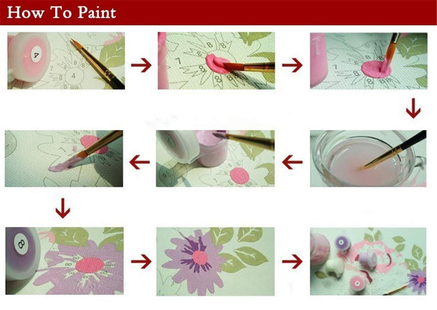 UJGIOY Painting By Numbers No Frame Diy Oil Painting By Number Paint By Number Kit Home Decoration Module Oil Paintings Pictures Sun Flower Blossom 40X50Cm Painting By Numbers Arts & Crafts