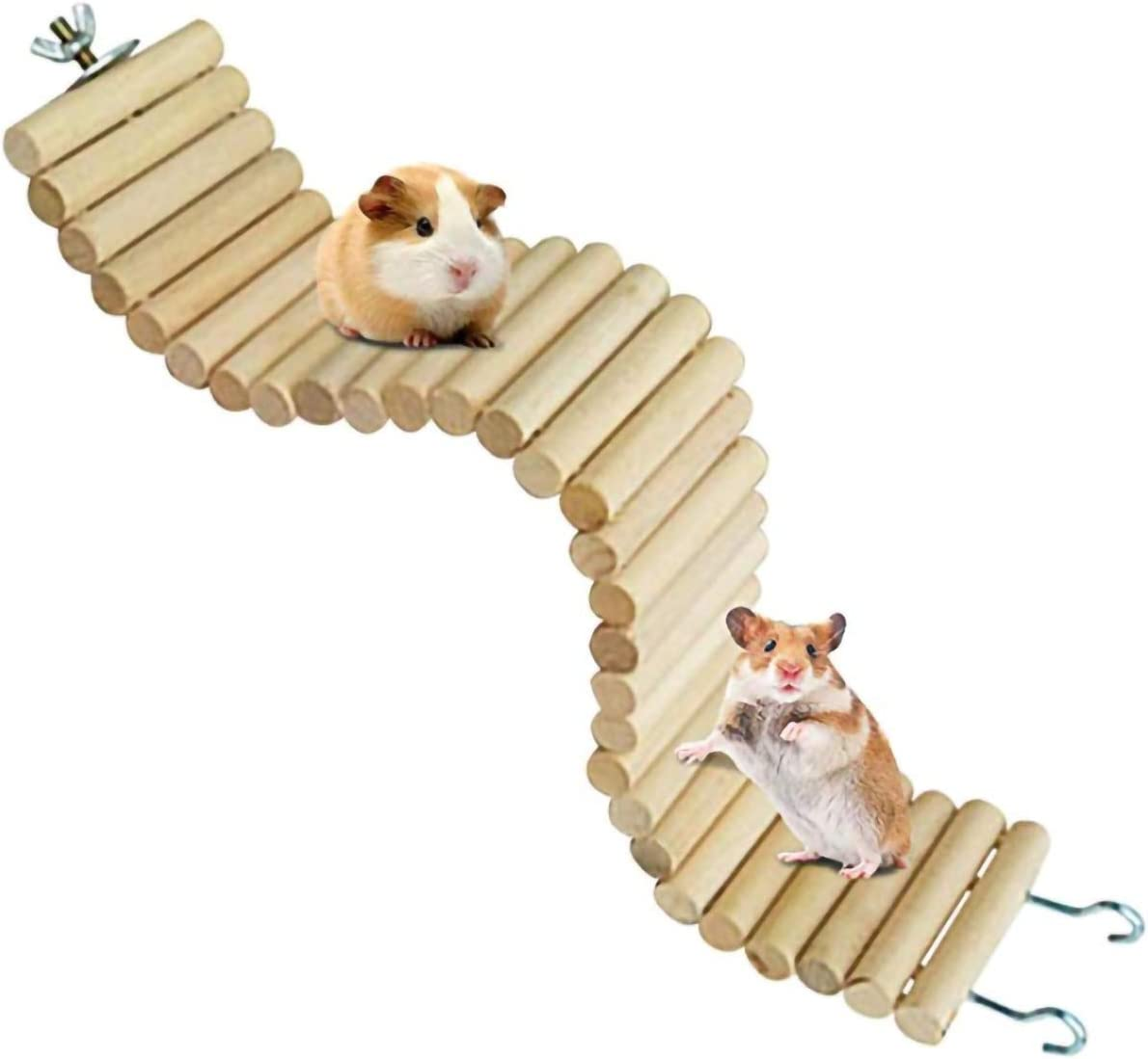 Cage Hanging Habitat Decor L, Colorful 01 Small Pet Teeth Chew Toys Colorful Suspension Bend Ladder Fushida Hamster Wooden Seesaw Bridge Platform