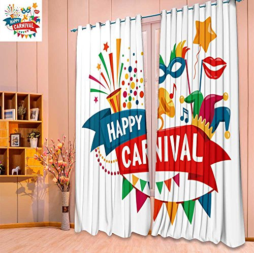 SeptSonne Printed Pair (2 Panels) Room Darkening Thermal Insulated happy carnival festive concept with musical trumpet mask lips jester hat buntin Top Pattern Curtains(W84 x L63 Pair)