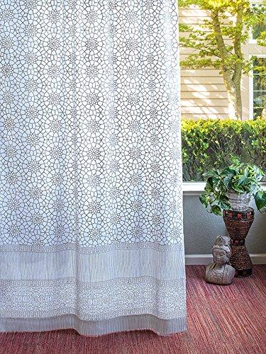 (Saffron Marigold Royal Mansour Quartz Spring Curtain Panel | Hand Printed Tab Top Curtains | Grey White Sheer Cotton Voile Window Treatment Drapes 46 x 84)