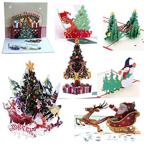 (7Pcs 3D Pop Up Colorful Christmas Greeting Cards Merry Christmas Cards Handmade Holiday Xmas Cards & Envelopes for Xmas/New Year )