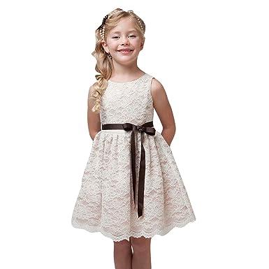 88597c88baa Highdas Mädchen Fest-kleid für Kinder Geburtstags Kleid Blumenmädchen Party  Spitzenkleid 92-128 Kleider  Amazon.de  Bekleidung