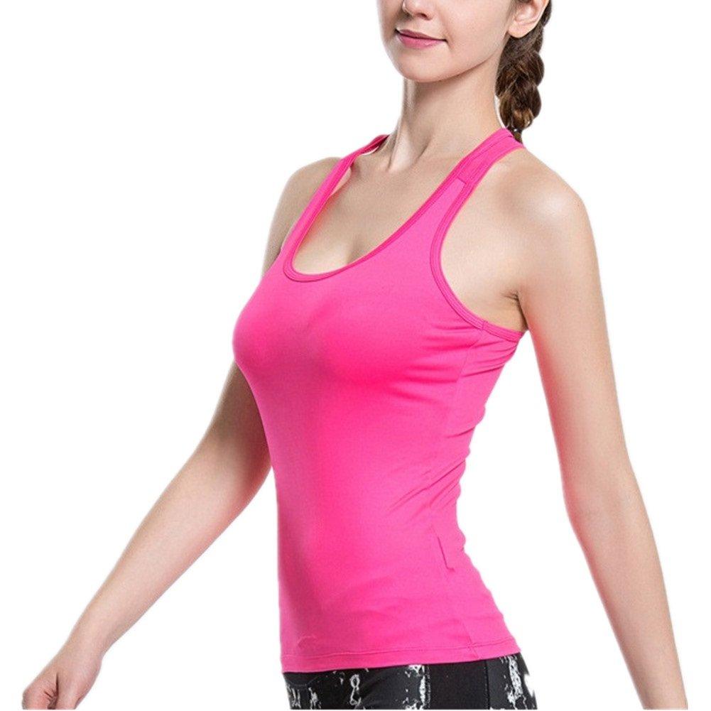 Lorsoul Women's Sports Yoga Fitness Racerback Tank Top Padded Built in Bra Running Sleeveless Vest (Small, Pink)