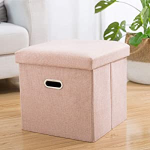 WEWE Linen Folding Organizer Storage Ottoman Bench Footrest Stool,Coffee Table Cube Camping Quick and Easy Assembly-Pink 38x38x38cm(15x15x15inch)