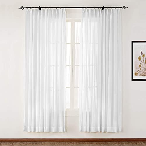 ChadMade Pinch Pleat White Sheer Curtains 96 Inches Long Semi Sheer Drapes Bedroom Sheers 2 Panel Sets Voile Sheer Curtain