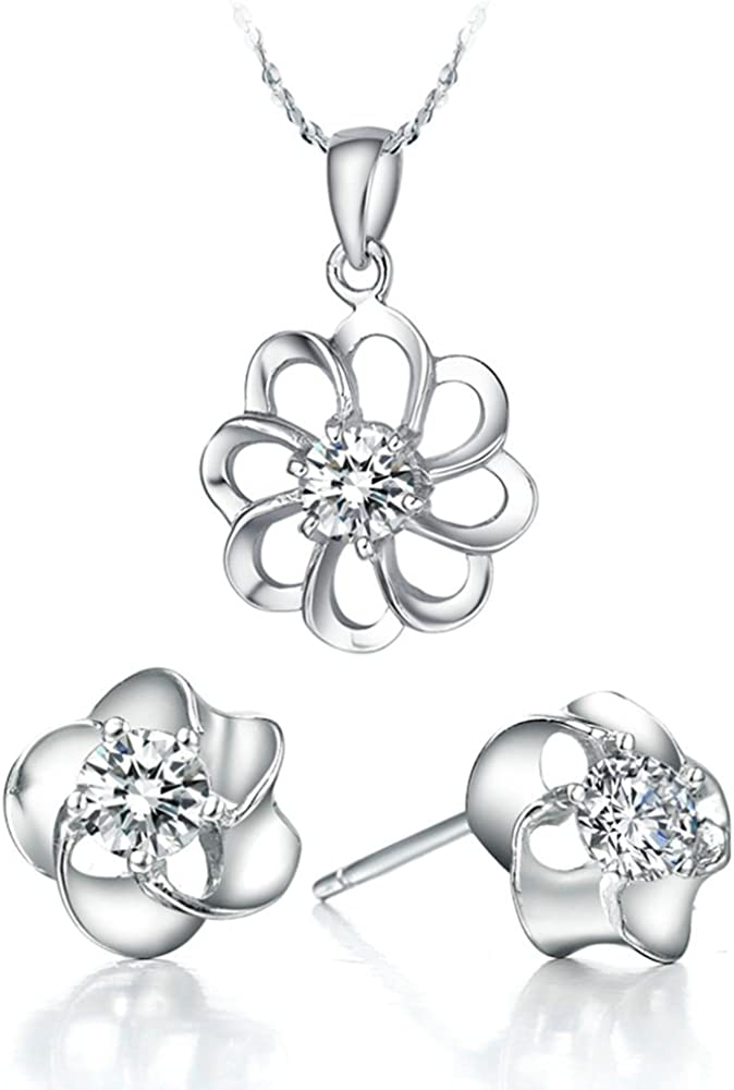 Onefeart Blanco Chapado en Oro Collar Colgante Aretes Juego de Joyas Mujer con Cristal Flor de Ciruelo Forma