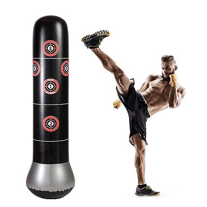 RUNACC Sac de frappe sur pied pour le fitness, la boxe, sac gonflable avec cibles de frappe, parfait pour les enfants et les adultes