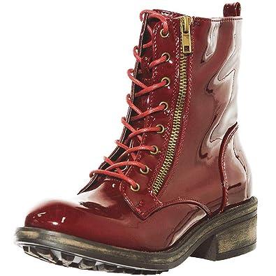 cd454ca90bc Women's Fashion Premium Patent Leather Ankle Lace up Combat Bootie