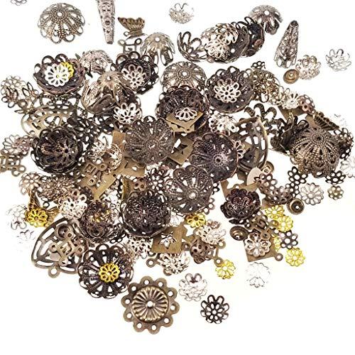 Assorted Antique Bronze Jewelry Making, Scrapbook Craft Findings- Bead Caps, -