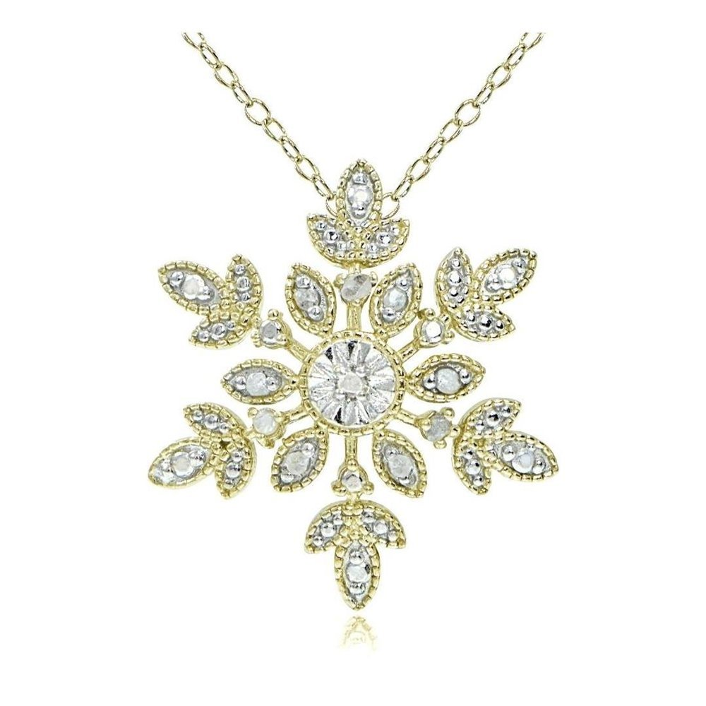 Glitzs Jewels Gold Tone Over Sterling Silver Simulated Diamond Snowflake Necklace