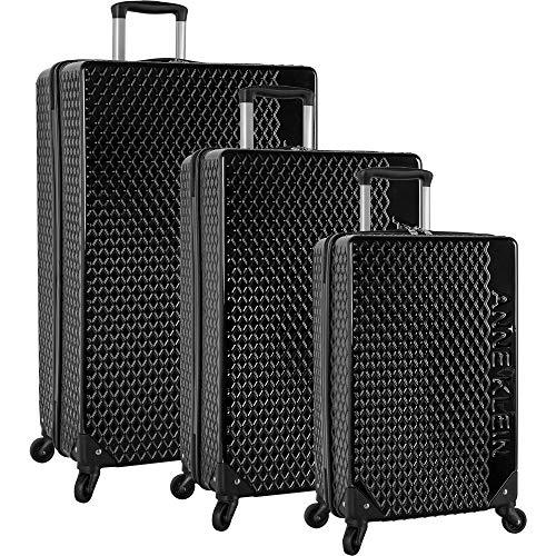 - Anne Klein 3 Piece Hardside Spinner Luggage Suitcase Set, Black