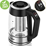 Comfee 1.7 Liter & 1500W glass electric tea kettle with temperaturer control and built-in tea infuser for loose tea. Auto Shut-Off, Boil Dry Protection and Keep Warm