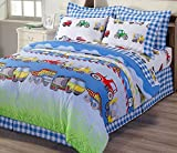 4-piece Truck Tractor School Bus Police Car Reversible Comforter Set Full Size