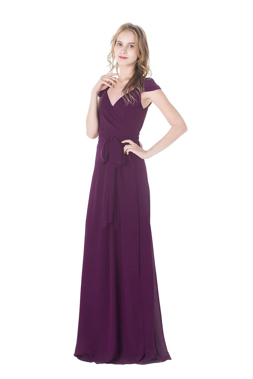Popular Queen Anne Neckline Long A Line Chiffon Bridesmaid Dress at ...